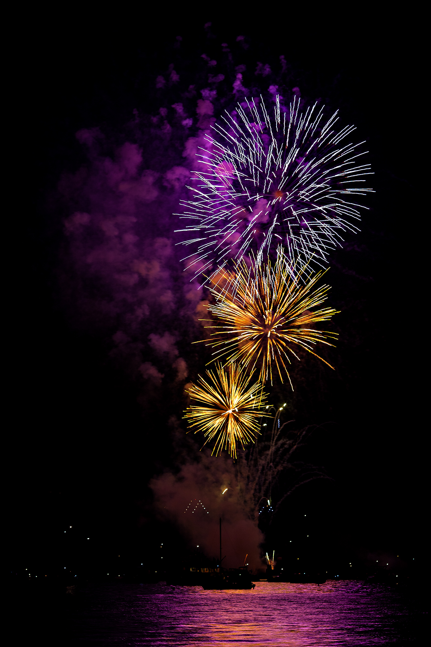 Fireworks from Kitsilano Beach, Vancouver, British Columbia, Canada