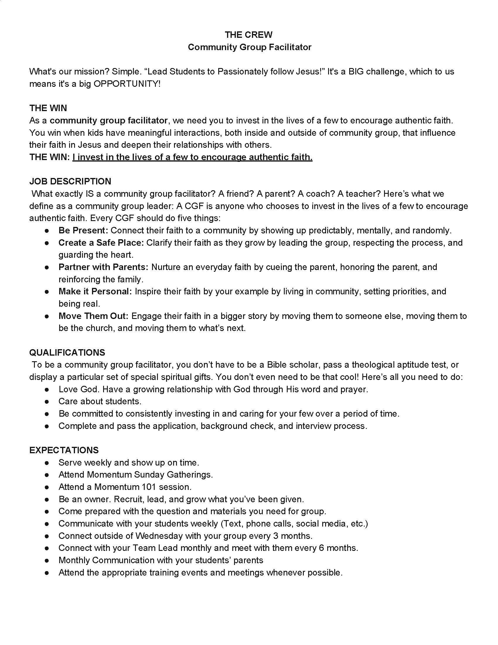 Leader Job Description & Expectations Page 1