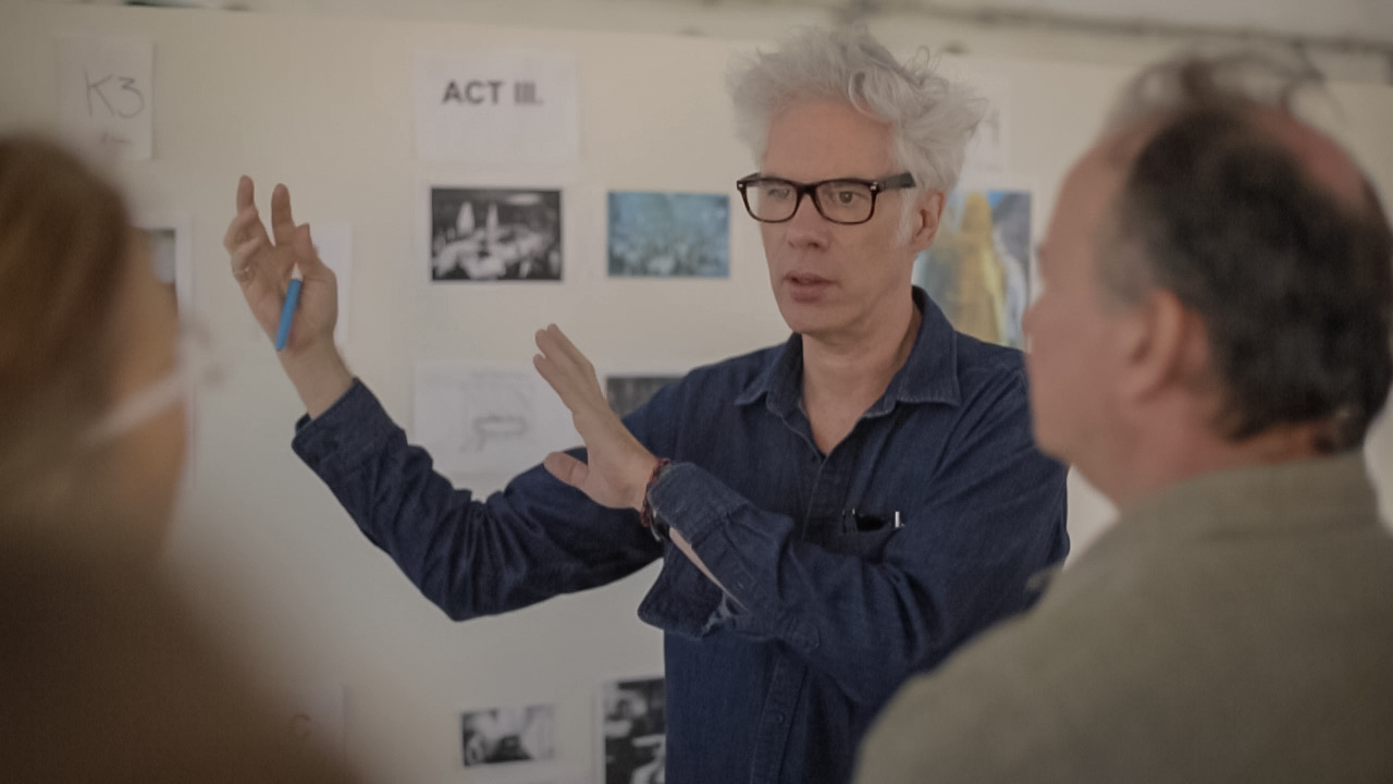 Jim Jarmusch and Phil Klein during The Tesla workshop