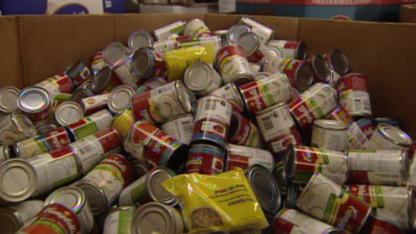 One donated can is all it will take for admission to this Friday's intrasquad game. (Photo credit: CBC News)