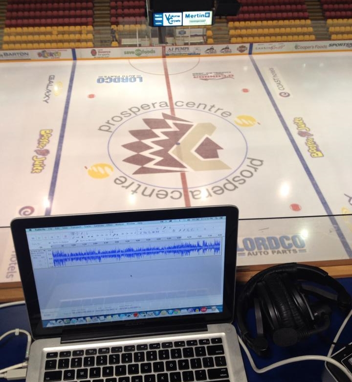 The view from the booth in advance of the first Junior A game of my broadcast career.