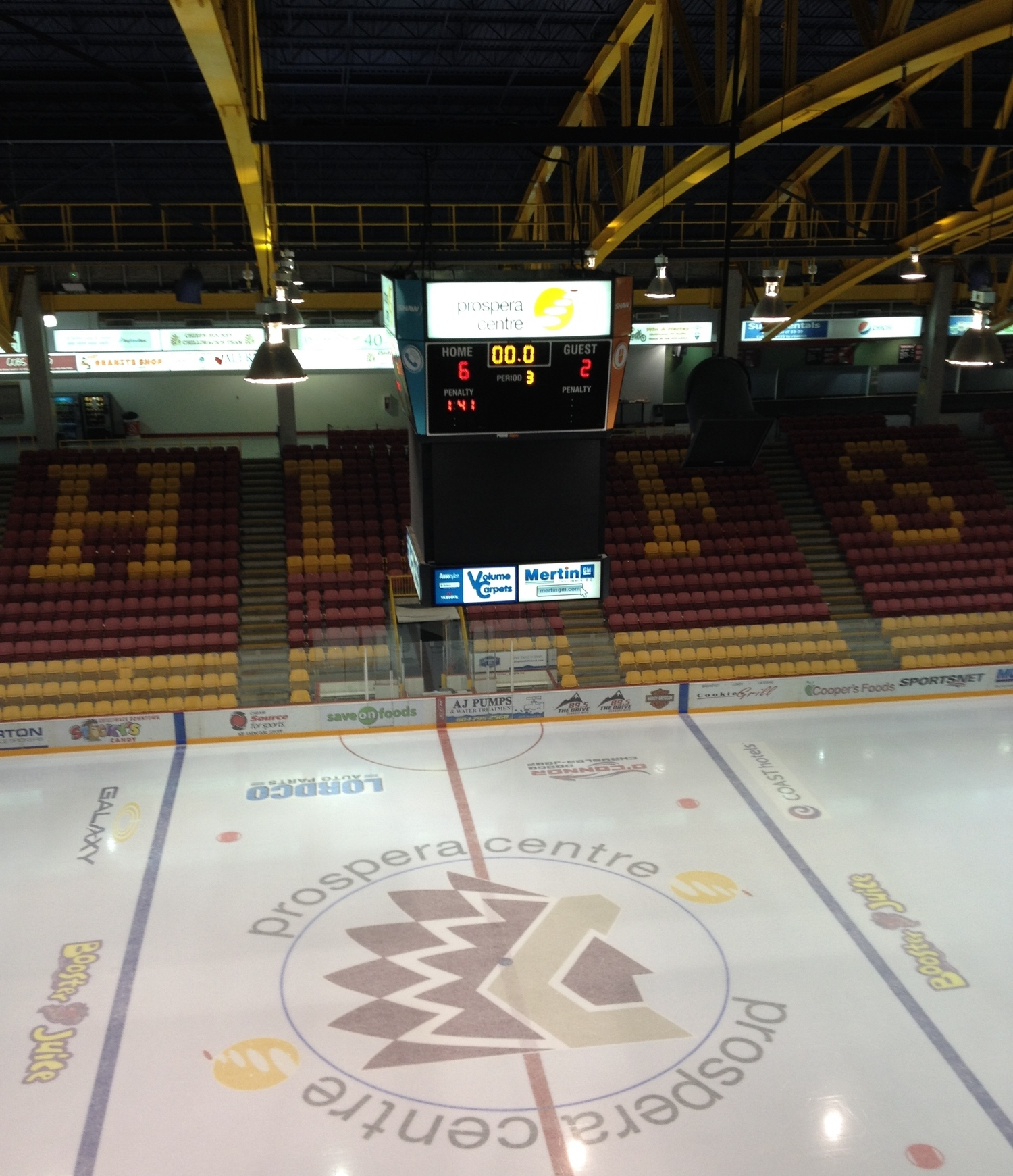 The view from the rafters after Saturday's 6-2 loss at the hands of the Chilliwack Chiefs.