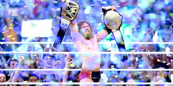 Daniel Bryan celebrates his WWE World Heavyweight Championship victory at WrestleMania 30.