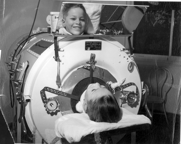 Living it up in an iron lung.