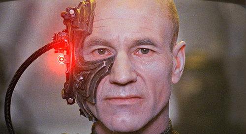 Patrick Stewart visits a very dark mental space as Borg Picard (UMM, HIS NAME IS LOCUTUS OF BORG).