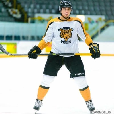 Jackson Playfair suiting up for the Dalhousie Tigers this season.