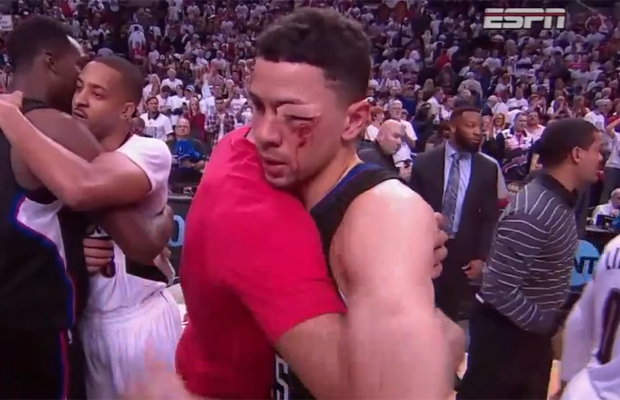 Austin Rivers looking every bit deserving of a commemorative statue in his honour.