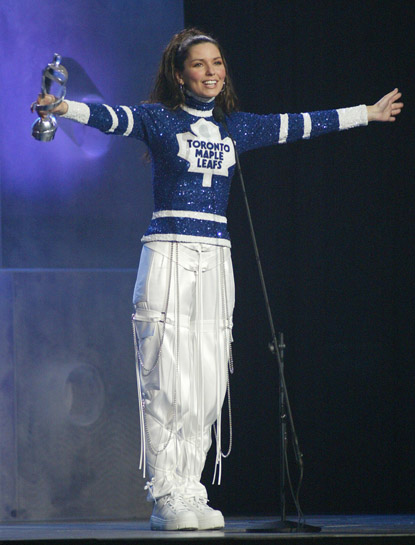 Shania Twain in one of her six Canadian NHL team dresses