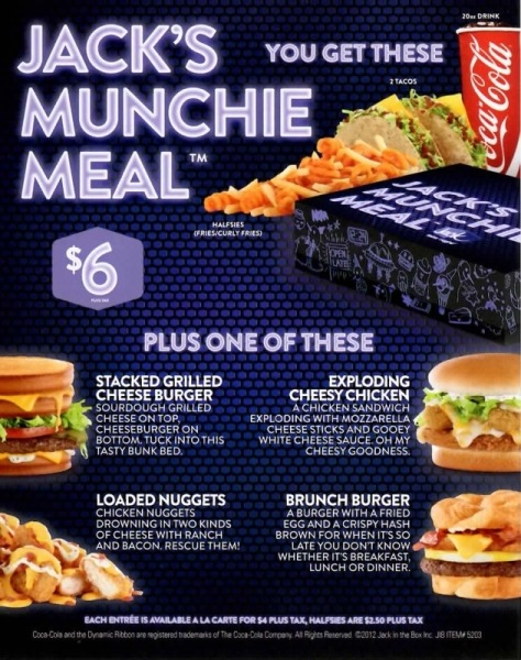 The Jack in the Box late-night menu
