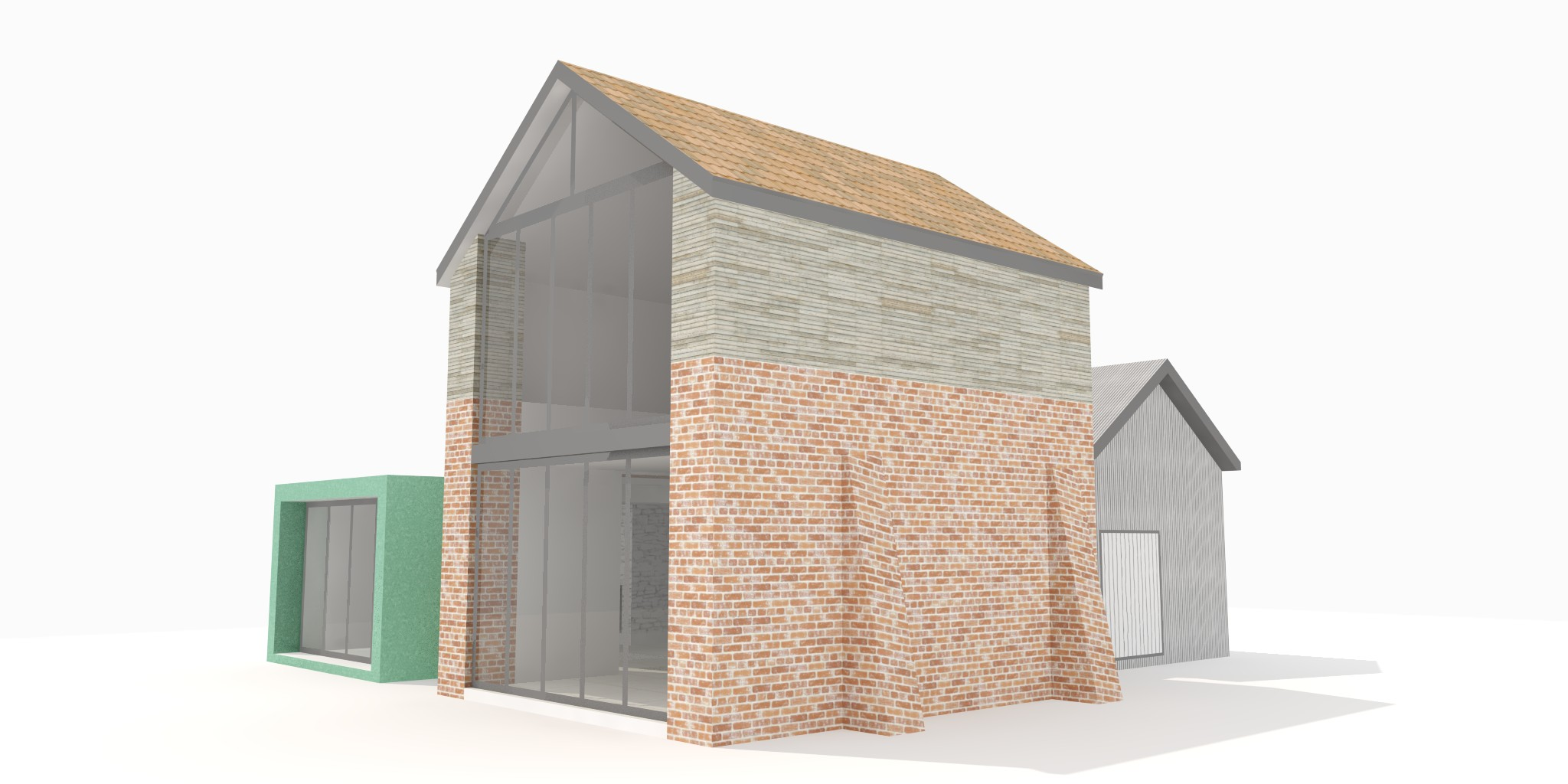 Mix of materials, patinated copper sheeting, brick, oak cladding and black corrugated metal sheeting