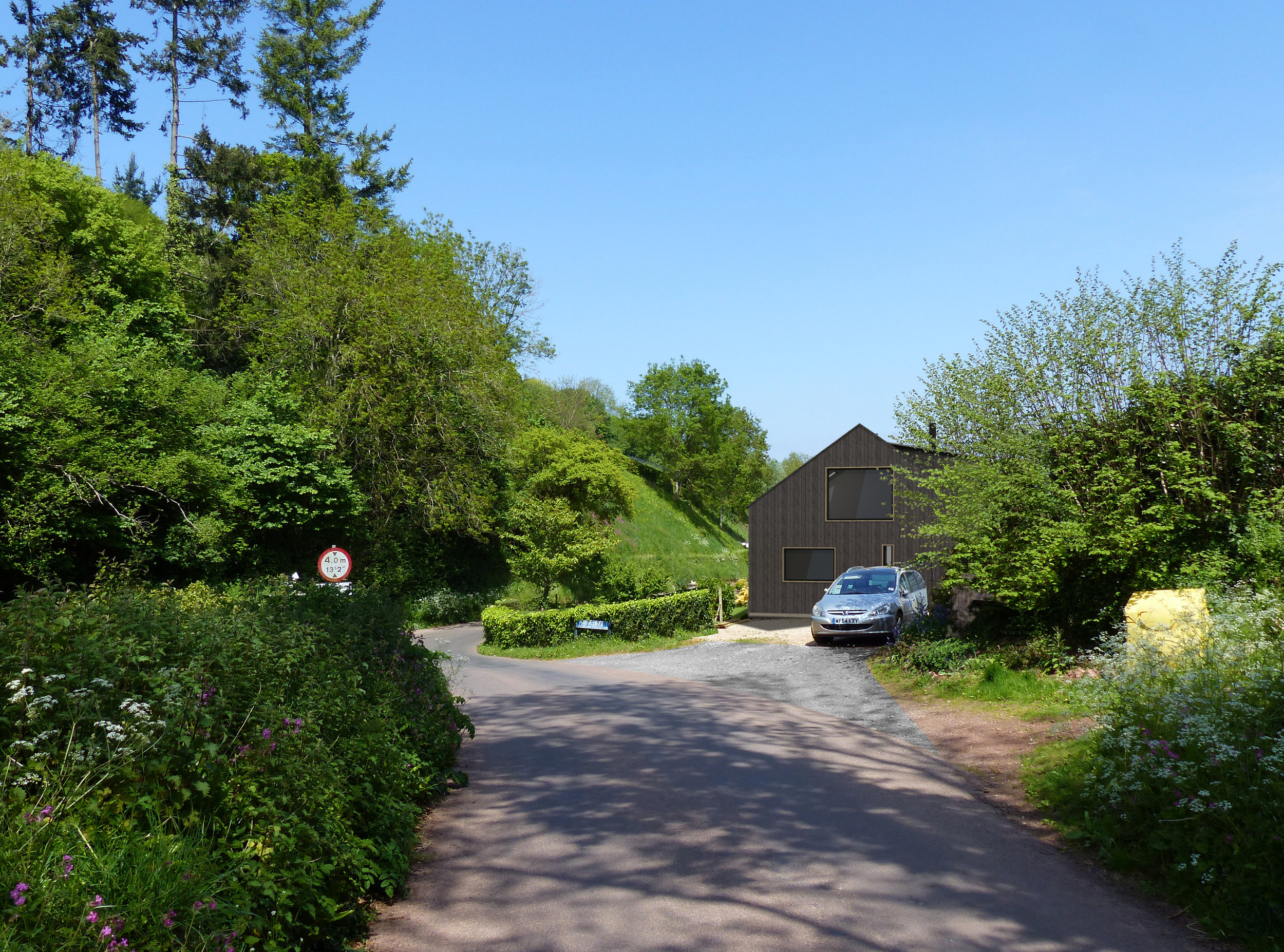 Photo montage showing view entering the village from the south