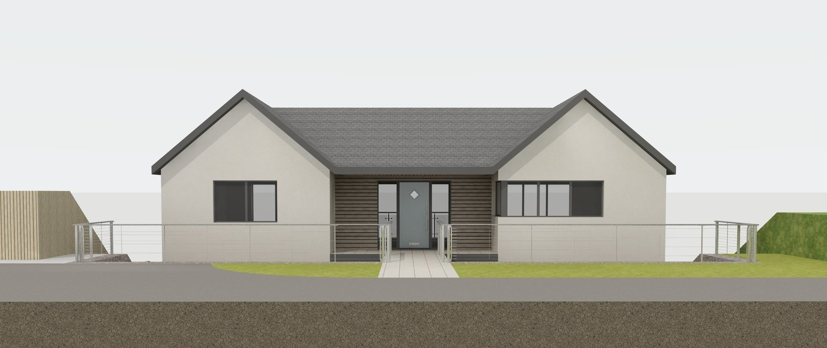 A discrete front elevation to blend in with the neighbouring bungalows.