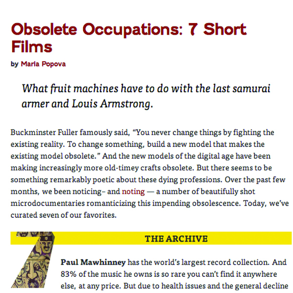 OBSOLETE OCCUPATIONS
