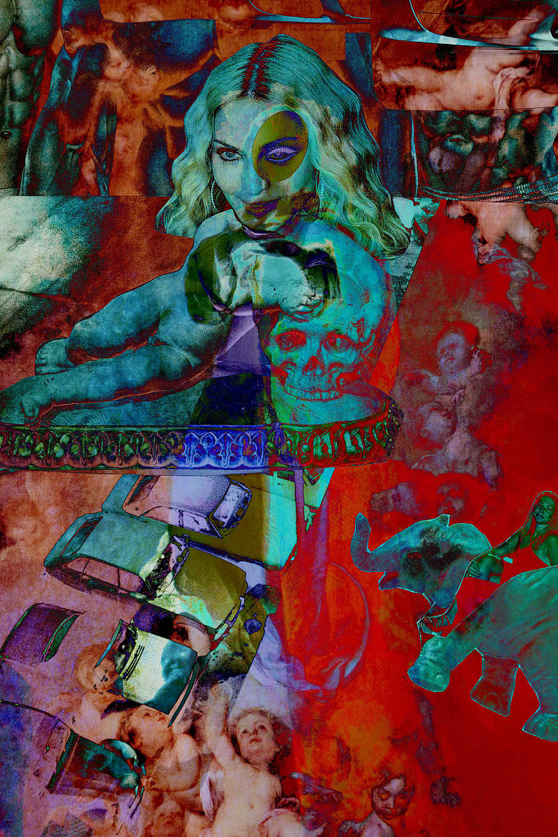 Madonna with the skull. Mixed media on paper, Mounted on dibond, Coatng liquid glass 150 x 100cm