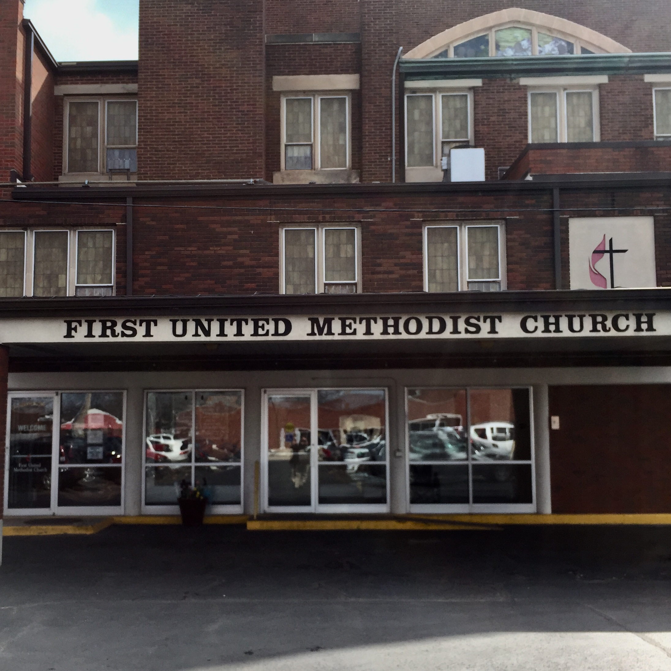 First United Methodist Church entrance (from Lafayette) (address: 333 N Main St, South Bend, IN)