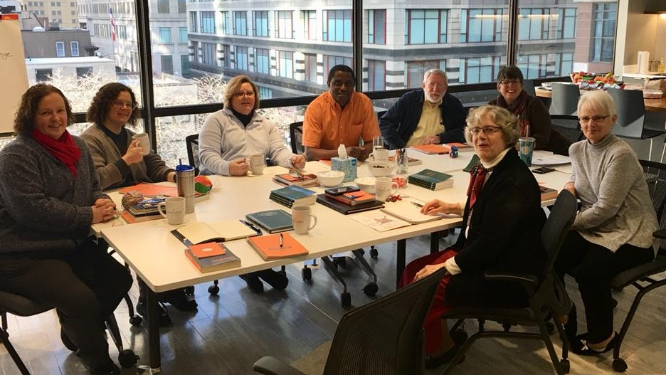 Our Diocesan Staff at Fierce Conversations Training in Chicago. (Michelle Walker, Terri Bays, Carol Bianchini, Adrien Niyongabo, Henry Randolph, Anne Wietstock, Courtney Reid (trainer) Sharon Katona)