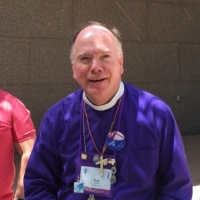Bishop Doug, with his convention name tag and pins