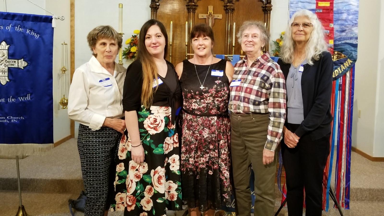 Daughters of the King Executive Board L-R: Cynthia Guzzo (Treas.) Toy Stick (Coresponding Sec.), Julie Chandler (Pres.), Elaine Fazzaro (VP), Barb Schramm (Sec.)