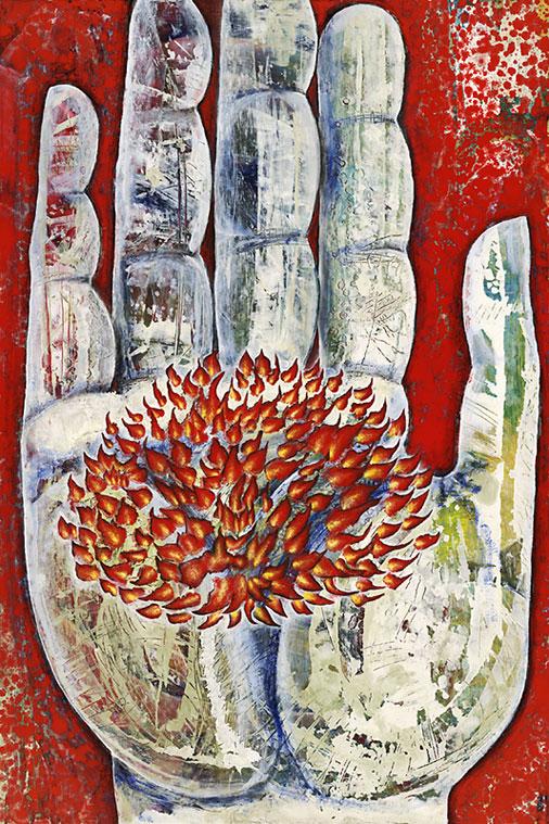 The Hand Creates Beauty (Mudra), 2010, Oil on masonite