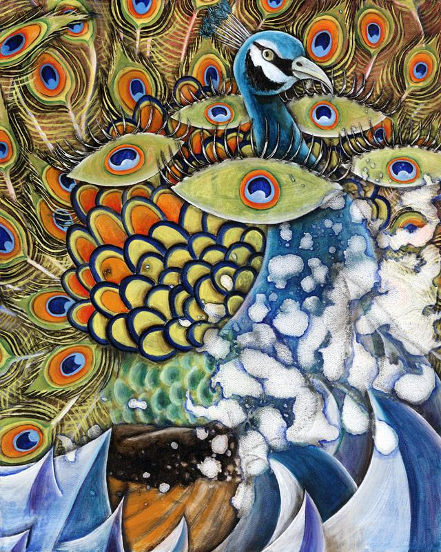 Cosmic Sea-faring Peacock, 2013, Oil on canvas