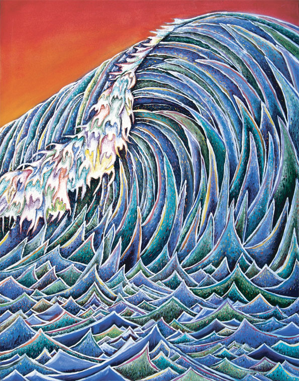 """The Wave (Birth/Life/Death: Evolve #2)"", Oil on canvas, 36"" X 48"", 1998"