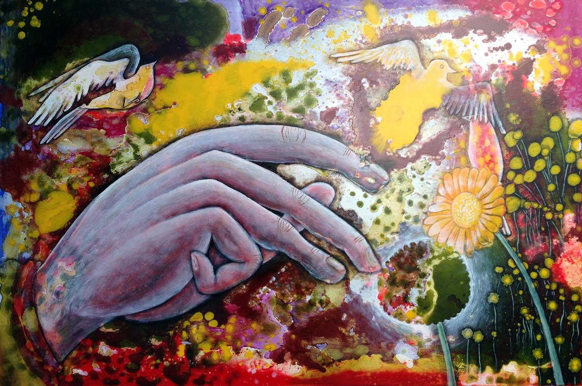 """""""3 Little Birds (Spring #4)"""", Oil on Masonite, 2011"""
