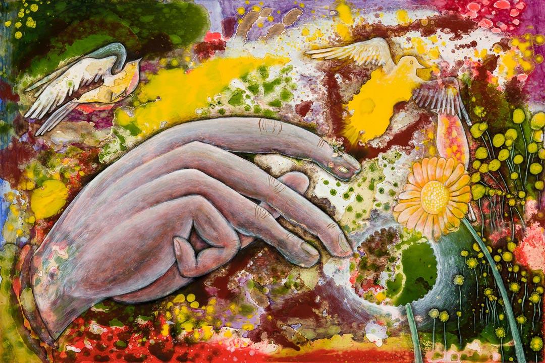 3 Little Birds (Spring #4), Oil on Masonite, 2011