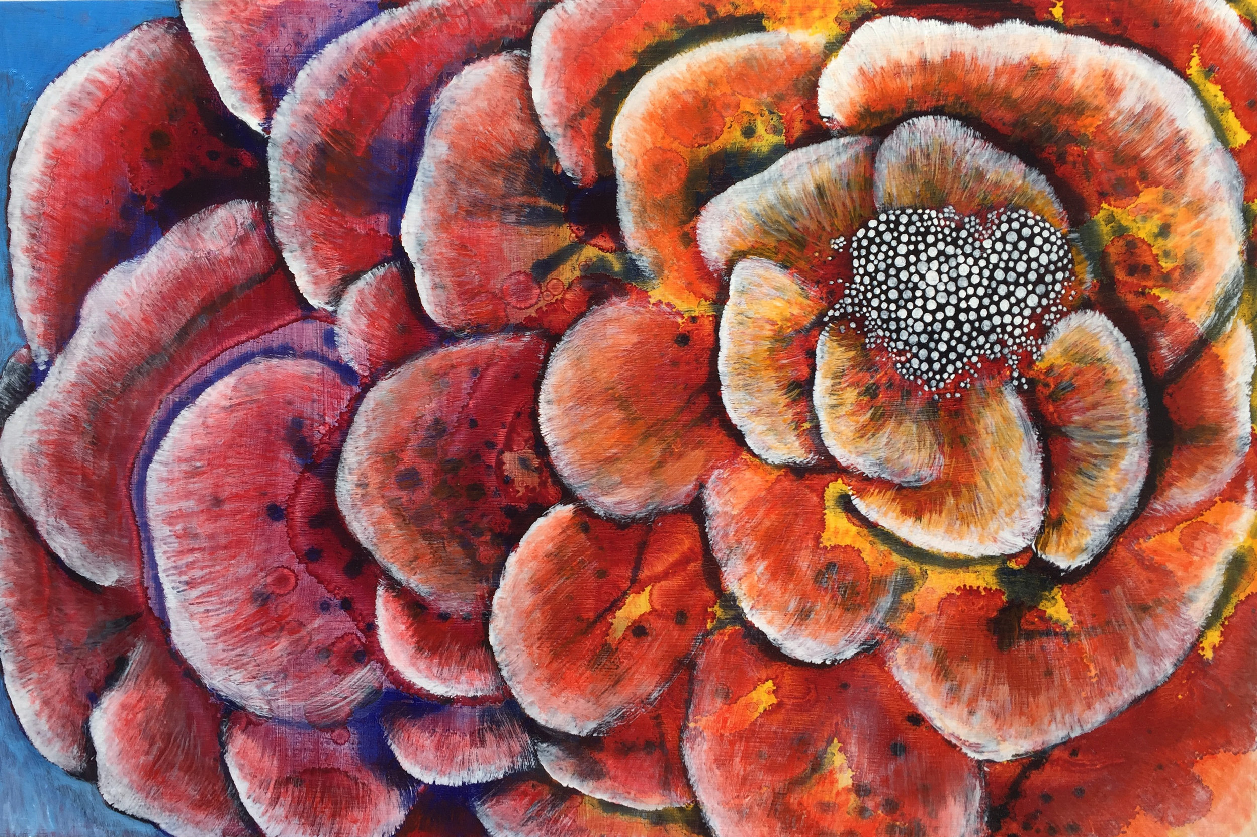 """""""Love Flower"""", Oil on Masonite, 36"""" X 24"""", 2018"""