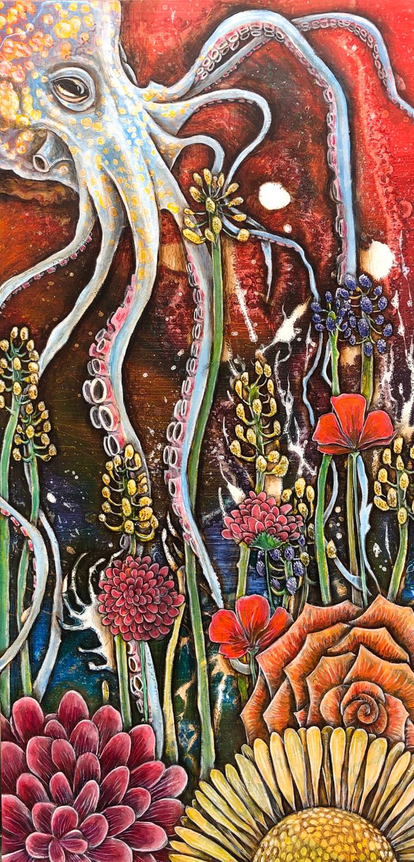 """Octopus Tending Its Garden"", Oil on Masonite, 12"" X 24"", 2019"