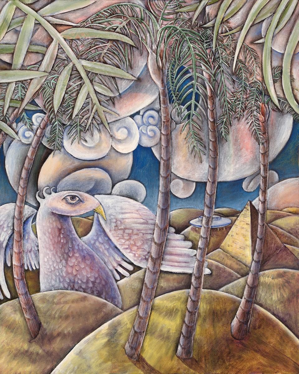 """""""At Thunderbird Oasis"""", Oil on Canvas, 16"""" X 20"""", 2011"""