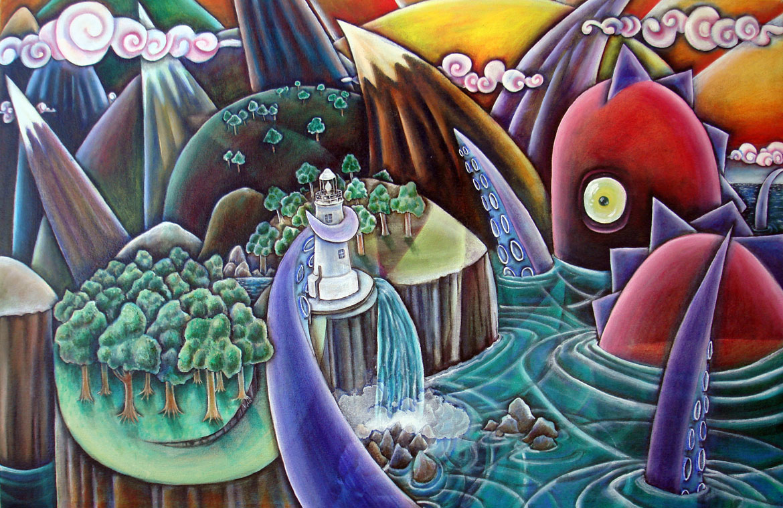 """Kinkade's Nightmare"", Oil on Masonite, 36"" X 24"", 2006"