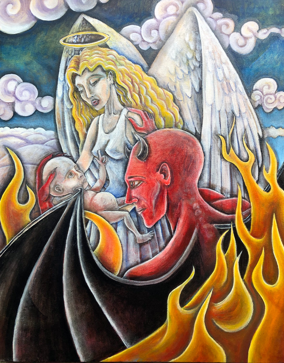 """Birth of Man"", Oil on Canvas, 16"" X 20"", 2011"