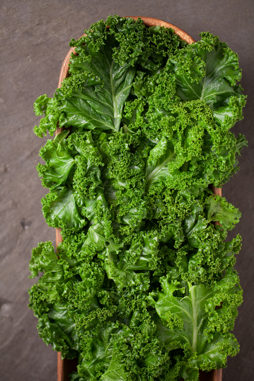 The kale takes on a lovely, vibrant green color when steamed. Don't over steam so that it's too limp.