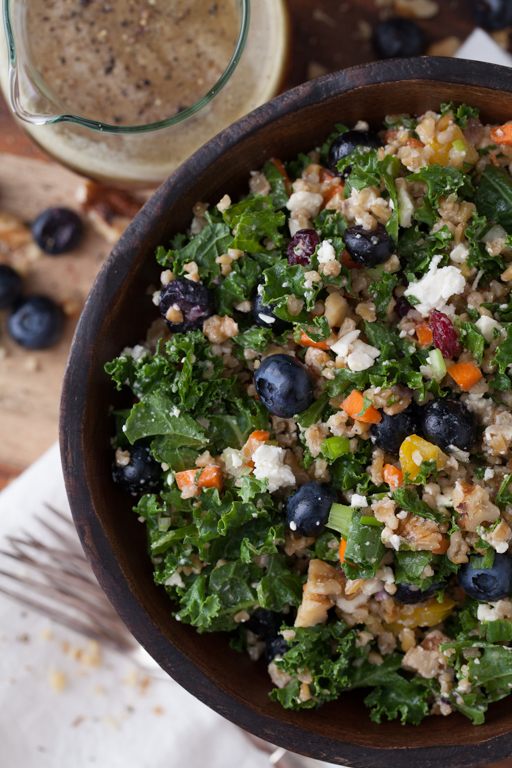 Who doesn't love a good Kale Salad??? I've had some great ones while eating out but stumbled upon this recipe. The only change I made from the  original recipe  was to use unsweetened dried cranberries because I don't like it too sweet. This recipe calls for Freekah, which is made from green wheat, but you can substitute Quinoa if you prefer. Yum!  Special thanks to Shelley and Gretchen over at Two Healthy Kitchens for this recipe. Check out more of their recipes at  http://www.twohealthykitchens.com.