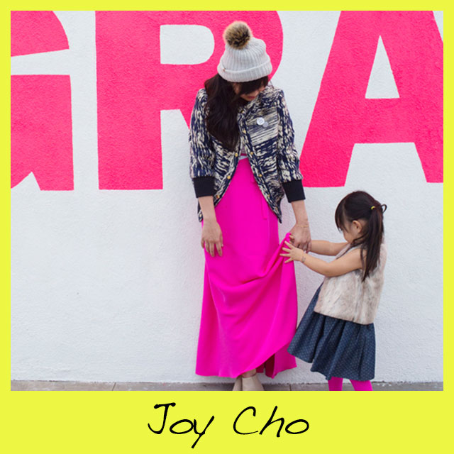 Joy Cho , is the founder of  Oh Joy Studio  located in Los Angeles. Joy, started her business as a graphic design studio. Which now includes various licensed product lines, how-to lifestyle videos, and a daily blog with a focus on design, fashion, food, and joyful moments from her everyday life.