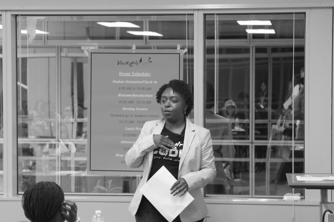 Source: Black Girls Code. In photo, Kimberly at the Summer of Code event.