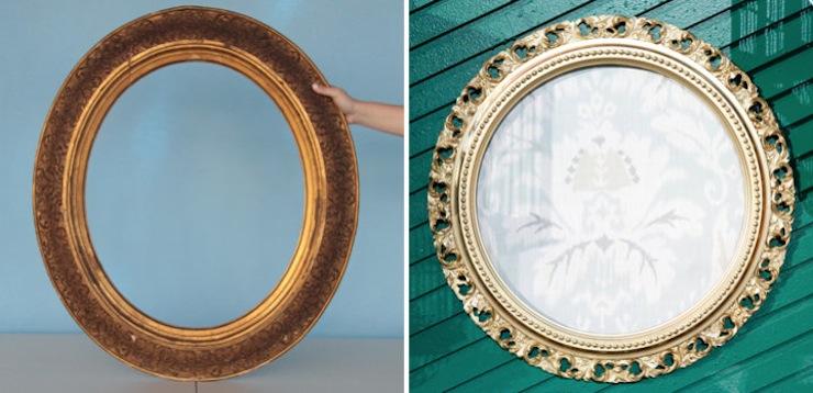 Materials: Gold Spray Paint + Fabric (curtain) + Staple Gun