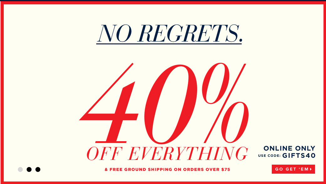 40% off EVERYTHING! They have fantastic stocking stuffers and monogrammed goodies!