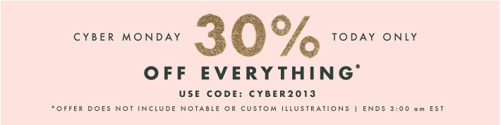 30% off EVERYTHING! I'm stocking up on holiday cards and calendars. I. LOVE. RIFLE.