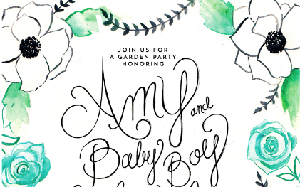Another darling friend, Jessi Evans of  Orchard Made ,  created watercolor + calligraphy invitations for the shower. This was our jumping off point for the shower as far as look and feel went. I just loved these hand made invites, they perfectly captured the mom-to-be and the vibe of the shower!
