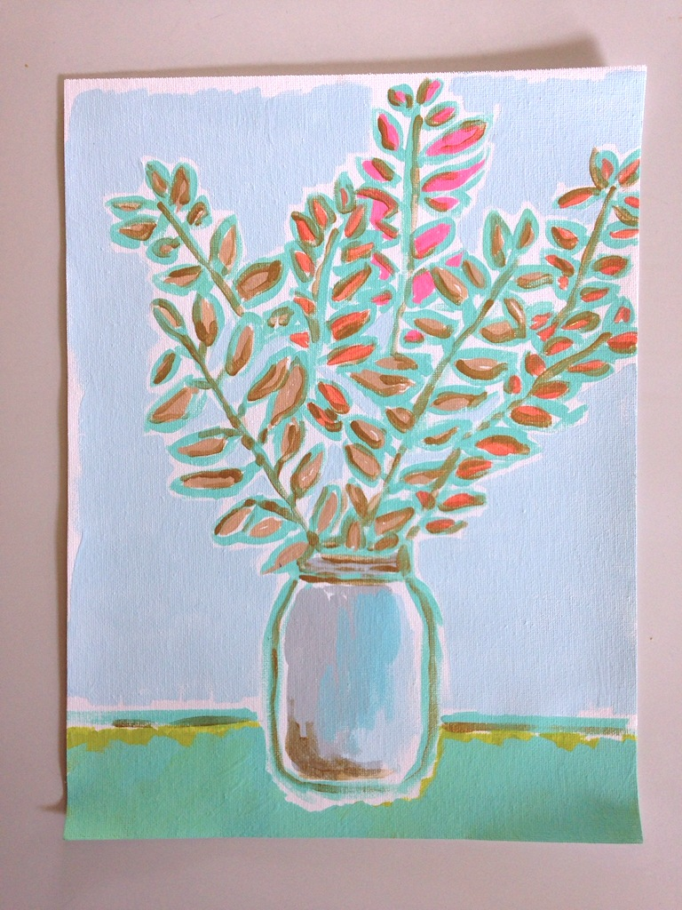 I trimmed some branches from the backyard, shoved them in a mason jar and did a quick / rough still life.