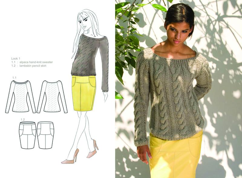 alpaca hand-knit sweater : lambskin pencil skirt