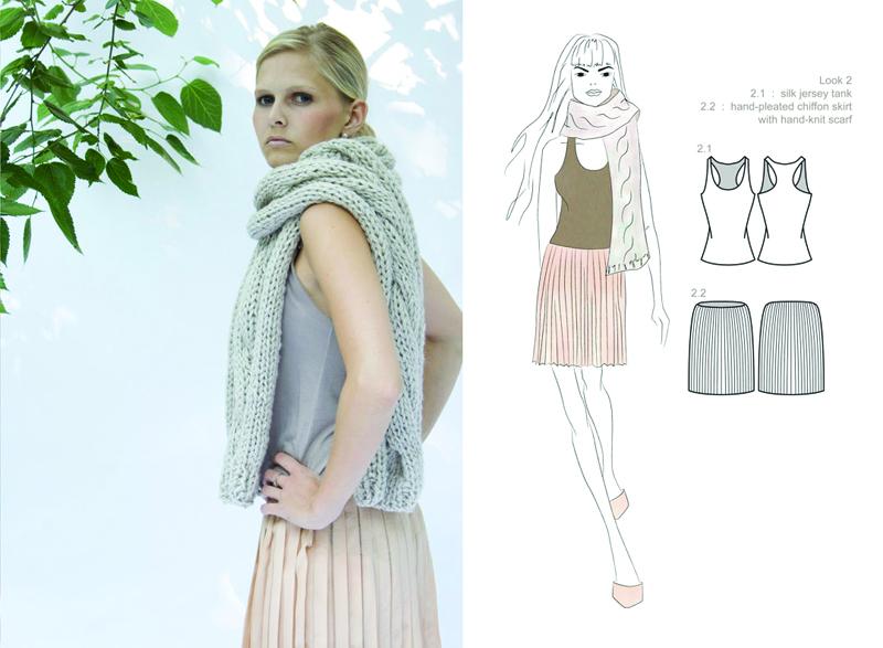 silk chiffon hand-pleated skirt : silk jersey tank : hand-knit scarf