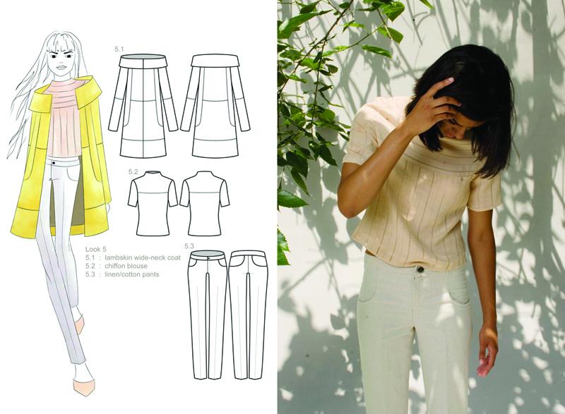 lambskin coat : silk chiffon blouse : linen/cotton pants