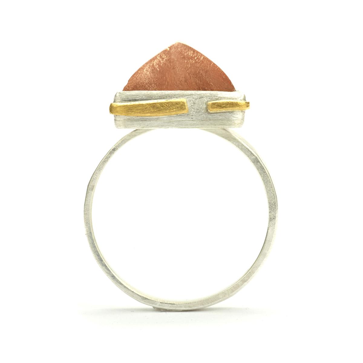 24k Gold Detailed Sunstone Ring