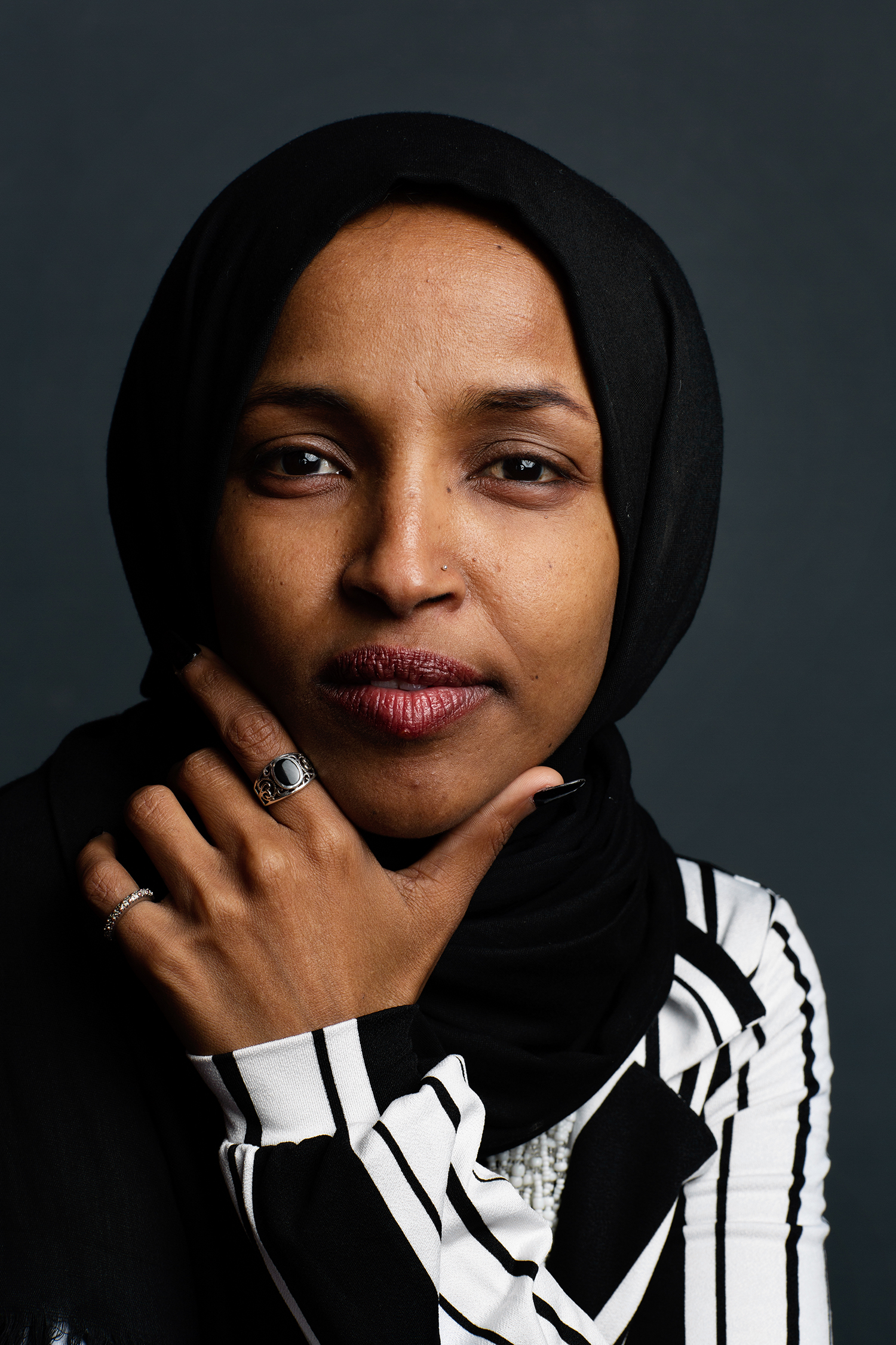 Ilhan Omar *****HOLD FOR WOMEN IN CONGRESS PROJECT****Ilhan Abdullahi Omar is a Somali American politician from Minnesota. In 2016, she was elected to the Minnesota House of Representatives as a member of the Democratic–Farmer–Labor Party, making her the first Somali American elected to legislative office in the United States. On November 6, 2018, she became the first Somali American elected to the United States Congress. Along with Rashida Tlaib, she was one of the first two Muslim women elected to Congress.[4] Omar is also the first Somali American elected to Congress, and the first woman of color to serve as a U.S. Representative from MinnesotaElizabeth D. Herman for The New York Times                              NYTCREDIT: Elizabeth D. Herman for The New York Times