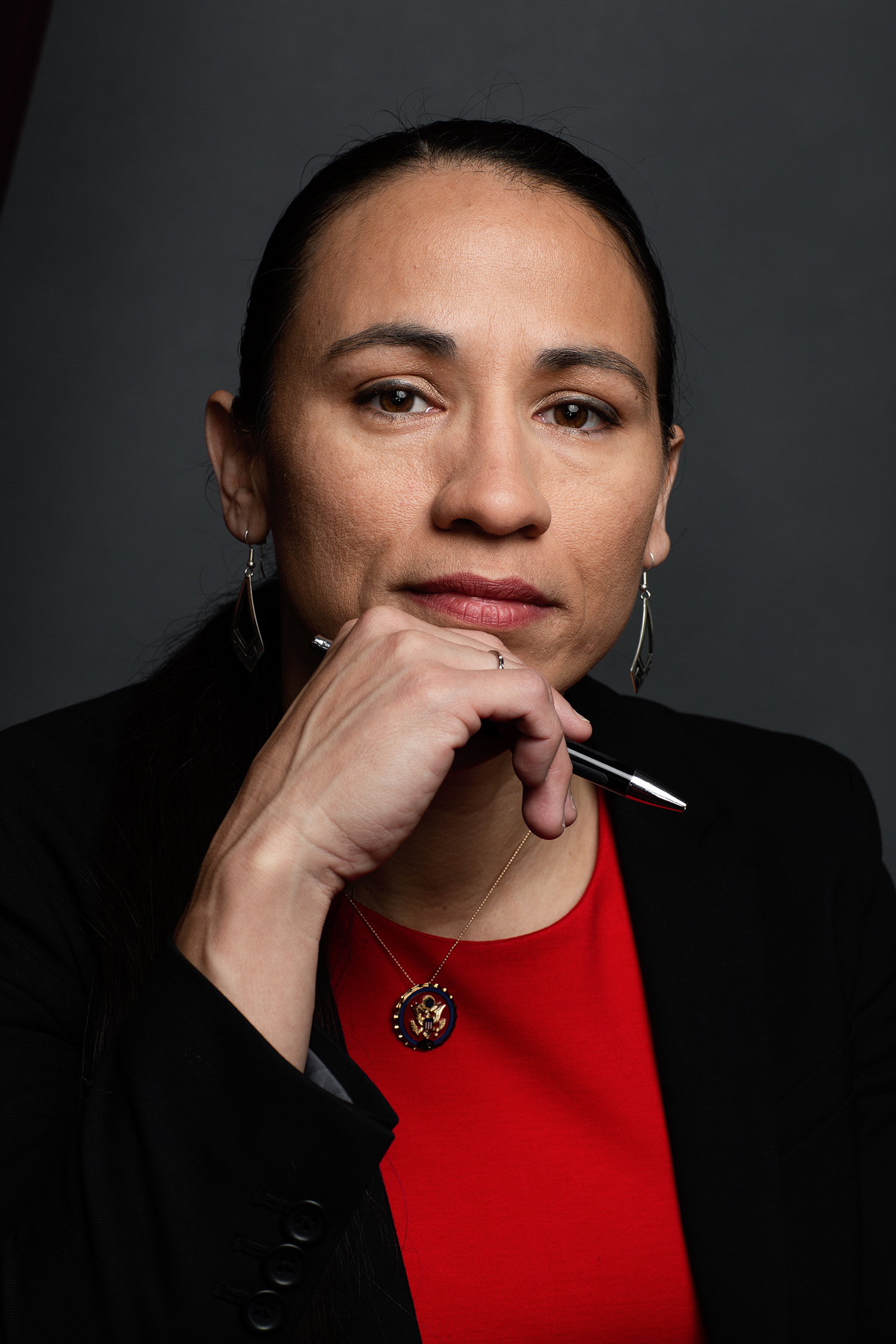 Sharice Davids *****HOLD FOR WOMEN IN CONGRESS PROJECT**** Sharice Lynnette Davids  is an American attorney, former mixed martial artist and politician serving as the U.S. Representative for Kansas's 3rd congressional district since 2019. A member of the Democratic Party and is an enrolled member of the Ho-Chunk (Winnebago) nation. Elizabeth D. Herman for The New York Times                              NYTCREDIT: Elizabeth D. Herman for The New York Times