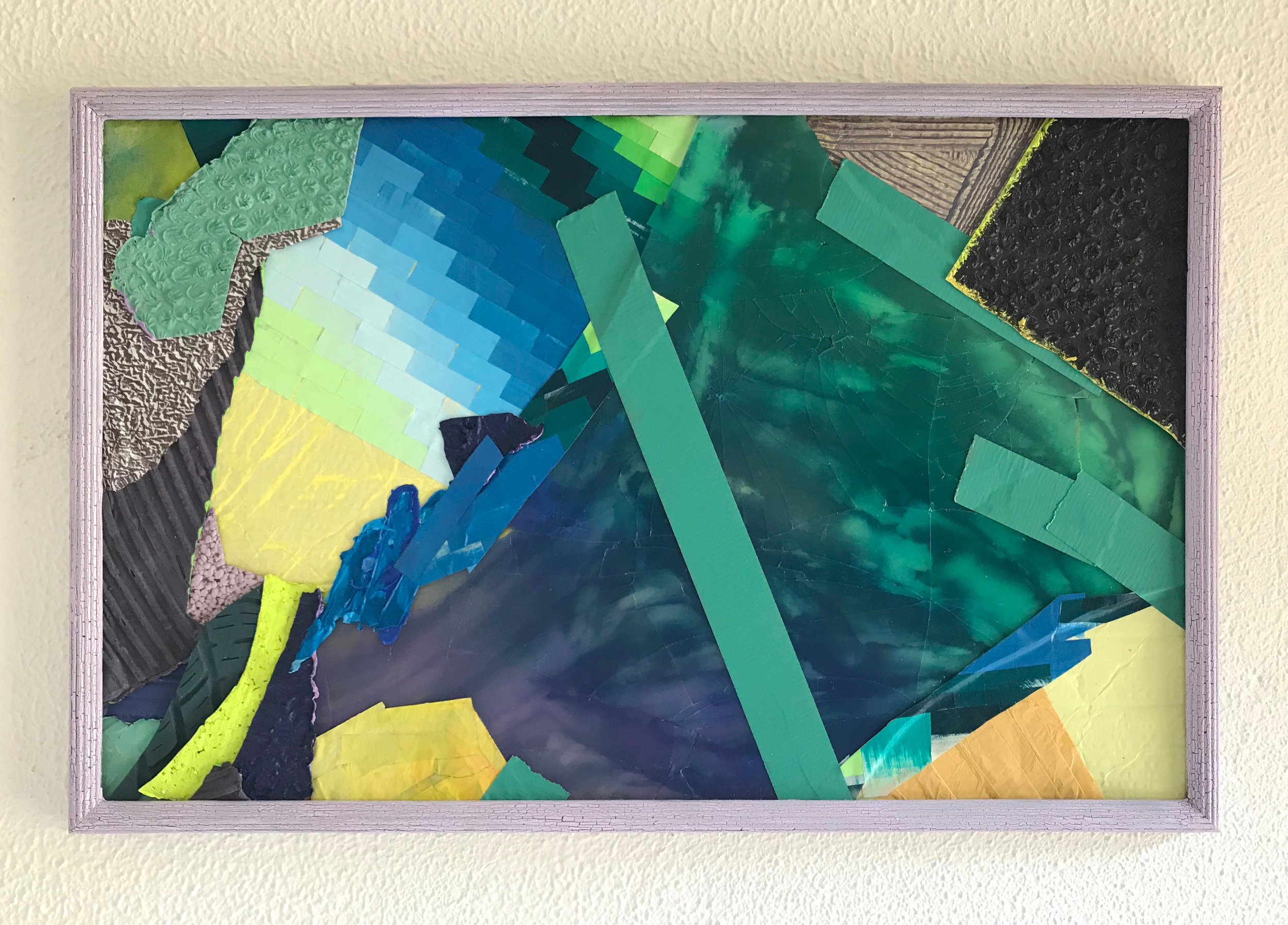 Dissociation 46: Rio, 2019.  Acrylic, cardboard, found paper, glass, enamel, duct tape  30 x 17 inches.