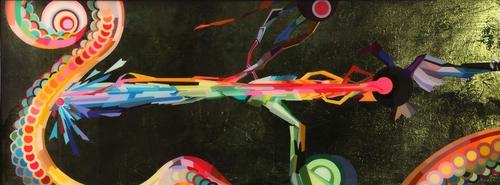 "hapticopticmanicpanic   Paper, paint, glitter and resin on wood 30"" x 80"" 2008-2010"