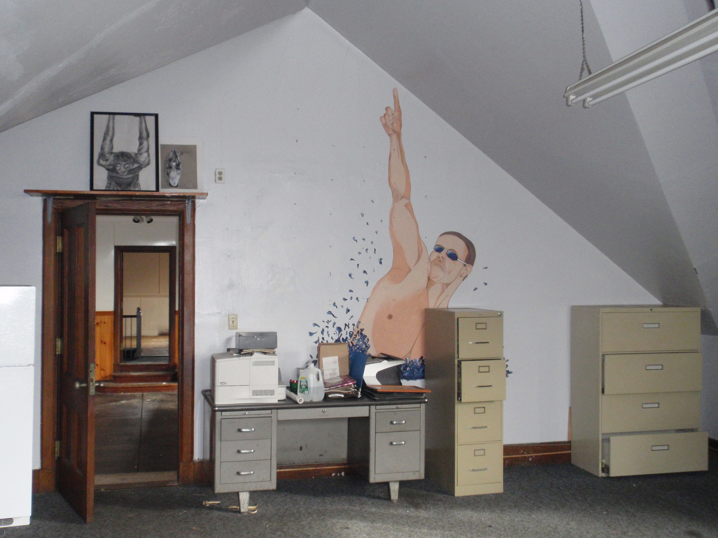 A mural in one of the upstairs offices.